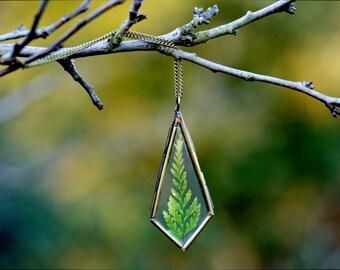 Fern medieval necklace, woodland necklace, boho, mystic, terrarium necklace, vintage copper