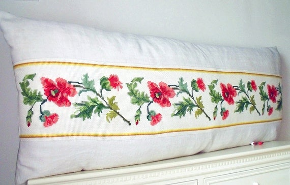 Shabby Chic Body Pillow : Pretty French Linen Shabby Chic Embroidery cross stitch