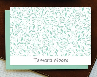 Personalized Stationery - Personalized Stationary - TINY LEAFS MOTIF Custom Personalized Note Card Set - Women Stationery