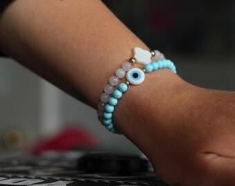 Evil eye, turquoise beaded bracelet.Good luck, friendship bracelet.Hand made, custom made jewellery.