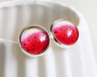Pattern glass Stud Earrings