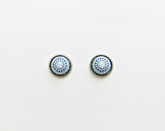 Navy Mosaic Post Earrings // Choose Your Color