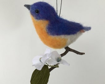Needle Felted Bluebird with paper flowers