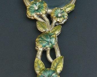 Magnifying Glass Handheld Desktop Vanity Enamel Flowers and Rhinestone Vintage
