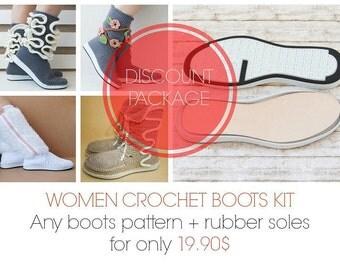 KIT: Outdoor crochet boots for women = pdf pattern + rubber soles,street boots,footwear,savings,shoes
