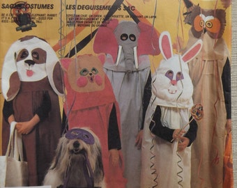 Children's Sack Costumes Incl. Dog, Owl, Elephant, Cat and Rabbit All 47 Uncut/FF Vintage 80s McCall's Crafts Sewing Pattern 2150