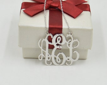 Sterling silver monogram necklace,1.5 inch monogrammed jewelry,birthday gift for everyone