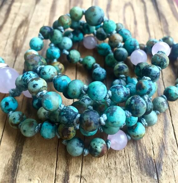 Boho African Turquoise Mala Beads, Knotted Tassel Necklace, Rose Quartz, Protection Beads, Heart Chakra Mala, Spiritual Jewelry Yoga Jewelry