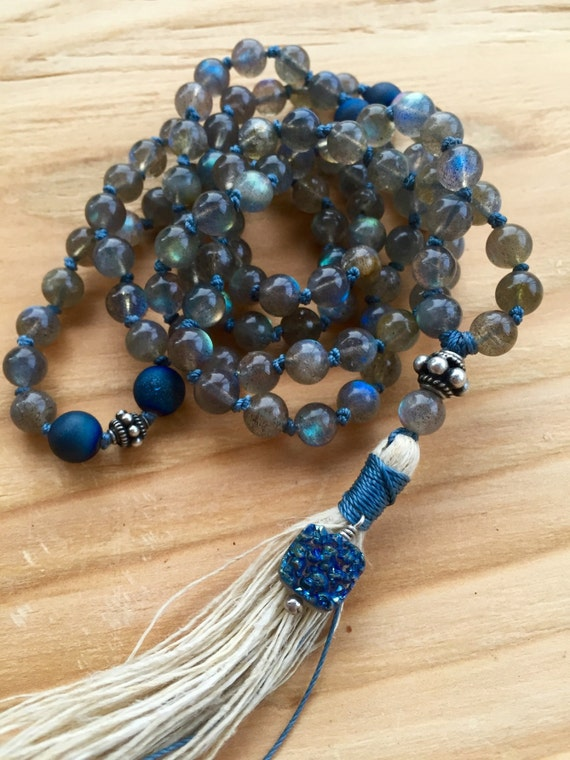 Labradorite Mala Beads, Blue Druzy Geode , Healing Beads, Stress Relief, Third Eye Chakra, Intuition