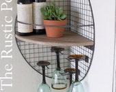 Industrial Reclaimed Wood Shelf - Shelf- Industrial - Wood Shelf -Modern Corner shelf -Rustic Shelf -Farmhouse shelf - Metal and wood shelf