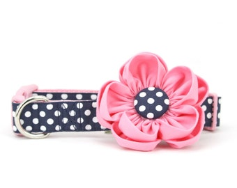 Girly Pink Dog Flower Collar Fancy Preppy Nautical Navy Polka Dot Girl Dog Collar