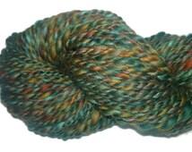 Handspun Yarn - Bunte Berge - Merino Silk -  knitting crocheting yarn - Green rust aqua orange forest olive red brown