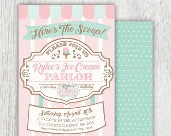 Printable ice cream parlor invitation - Here's the scoop - Ice cream first birthday party - Ice Cream shop - Sweet Shoppe - Customizable