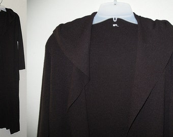 Beautiful Maxi Knit Long Woodland Brown Maxi Cardigan Sweater Coat Pockets M/L