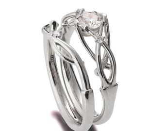Braided Wedding Set, Celtic Bridal Set, 18K Gold and Diamonds engagement ring, unique engagement ring, white gold rings, knot bridal set