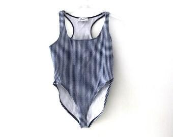 Vintage 80s bodysuit leotard onesie gingham navy blue white