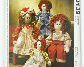"OOP Plushie Doll Patterns / McCalls 3139 Doll Sewing Pattern 16"" and 22"" Stuffed Doll Patterns and Doll Clothes Pattern UNCUT McCalls Crafts"