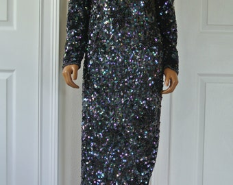 Vintage Deco Dress Sequined Iridescent Scales Mermaid Inspired Gatsby Party Dress