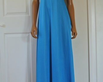 1970s Nightgown Blue Full Length Gown Size Small