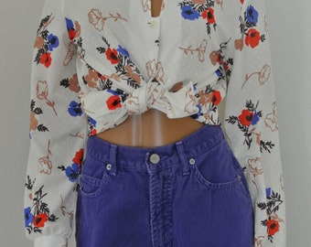1970s Hippie Blouse Ascot Bow Floral Peonies Ivory Floral Russ Togs Small
