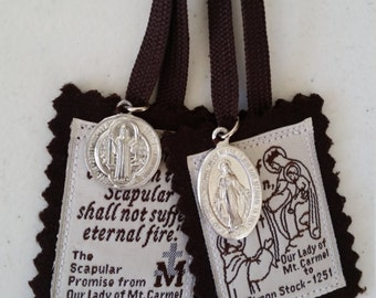 100% Brown Wool Scapular of Our Lady of Mount Carmel with St. Benedict Medal and Miraculous Medal