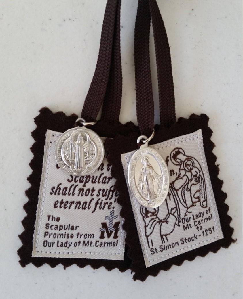 100 Brown Wool Scapular Of Our Lady Of Mount Carmel With St