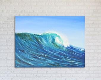 """Seascape Oil Painting Wave Ocean Original // """"Tahiti"""" 20 x 30"""" on Canvas"""