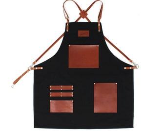 Barista Apron, Black Canvas with honey Leather Strap Apron by KustomDuo