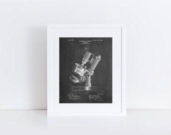 Microscope Patent Poster, Biology Teacher Gift, Pharmacy Student, Science Poster, Chemistry Art, Tech Art, PP0721