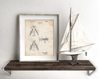 Surface Fishing Lure Patent Poster, Lake House Decor, Fisherman Gifts, Outdoorsman, Cabin Decor, PP0476