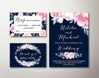 Floral Wedding Invitation, Boho Wedding Invitation, Printable Wedding Invitation, Peony Wedding Invite, Navy & Pink Spring Wedding Invite