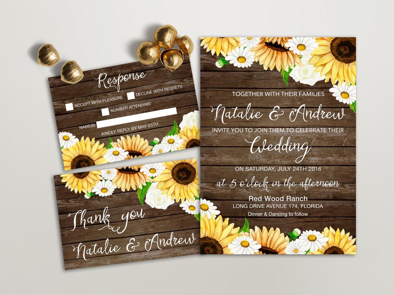 rustic wedding invitation printable sunflower wedding