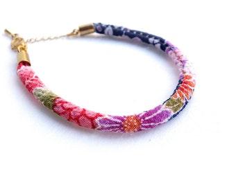 Kimono Bracelet/Anklet / Single Japanese chirimen cord, Japanese traditional Kimono- Purple, pink, blue, flower - HITOE -