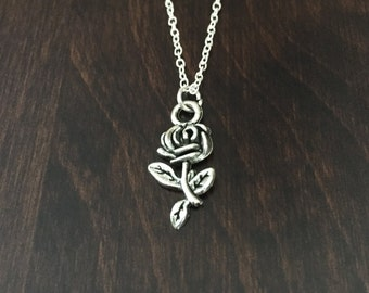 rose necklace, silver rose necklace, rose, rose jewelry, rose pendant, flower, flower necklace, flower jewelry, silver necklace, necklace