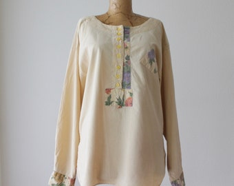 Middle Eastern Smock Tunic Blouse | Cotton Floral  | Women Size Small S / M