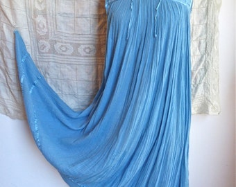 Sky Blue Gauze Cotton Maxi Dress