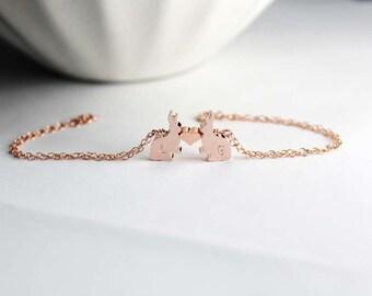 Two Bunny Bracelet, Bunny Jewelry, Couple Bunny , Rose Gold Animal Jewelry, Bunny Rabbit Bracelet,Two  Bunny Rabbit , Bunny Rabbit Jewelry