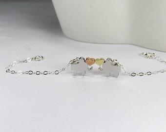 Two Elephant Bracelet, 3 tone bracelet . double hearts, Elephant Jewelry, Lucky Elephant Bracelet, Lucky Animal Bracelet Love Bracelet,