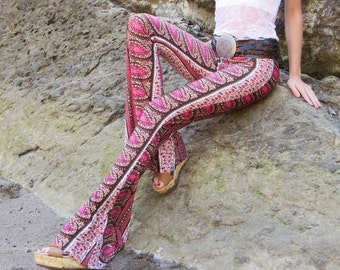 AZTEC TRIBAL paisley  flare leg gypsy hippie retro festival yoga fashion bell bottoms with fold waist optional