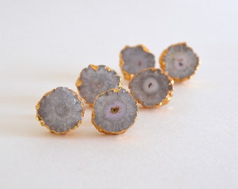 SALE -- Stalactite Stud Earrings, Solar Quartz, Geode Slice, Gold Trim