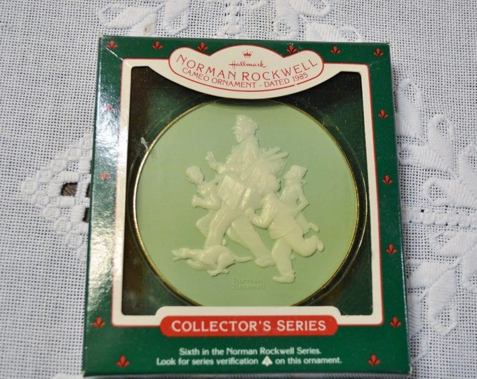 Hallmark Norman Rockwell Postman Keepsake Christmas Ornament 1985 Cameo Green Cream Collectible PanchosPorch