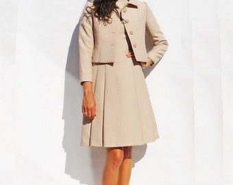 60 Cream Dress, Vintage 1960s Peggy French Couture Dress + Matching Jacket Co-Ord, Wedding Suit Women, 60s Mod Dress, Jackie O Dress, 1950s