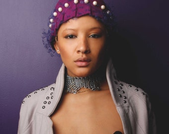 The Pearl Bow: purple cloach with pearls and veiling