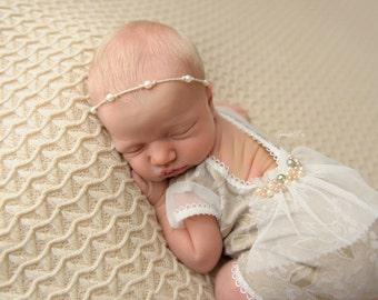 Newborn Prop, Photo Props, Newborn Romper, Neutral Baby Romper, Lace Romper, Newborn Girl Romper; Beige Floral Romper; Newborn Outfit, 035