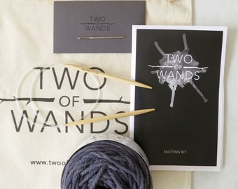 February in Paris 10 Pattern Knitting Kit // Merino Yarn, 6.5mm Circular and Straight Needles, Pattern Book, Tote Bag, Darning Needle