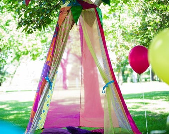 Pink Party Tent, Airy girls Bed canopy, birthday circus tent, outdoor summer games, play date ideas
