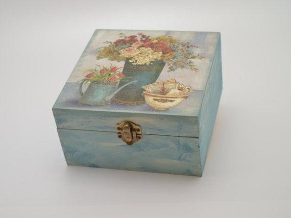 Wooden jewelry box decoupage box shabby chic box by PastimeArt