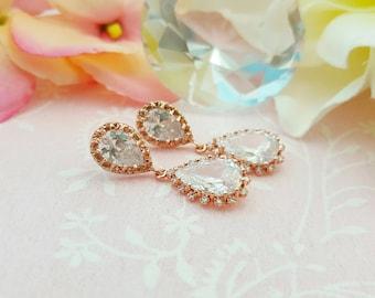 Rose Gold Earrings, Clear Rose Gold Bridal Earrings, Cubic Zirconia, Pink Gold Earrings, Bridal Teardrops, Blush Bridesmaid, Wedding, E2815