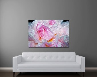 Peony Canvas Art, Modern Floral Art, Large Canvas, Light Pink Wall Art, Canvas Gallery Wrap, Pink Flower Wall Art, Art On Canvas