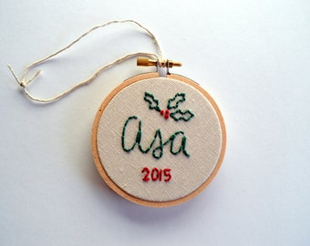 Custom Name Embroidery Hoop Ornament, First Christmas Ornament, Baby's First Christmas, Simple Holiday Decor, Holly Laurel, Rustic Ornament
